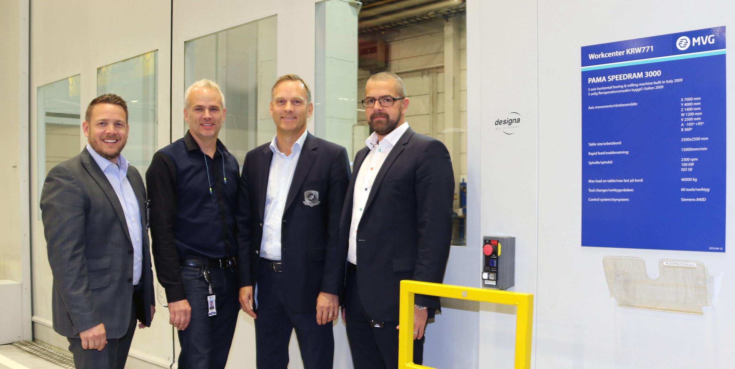 ....  FROM LEFT; MARKeting manager MIKAEL BÖNNEMARK, GUSTAVSVIKS Plantmanager NICLAS HÄGGROTH, CEO ANDERS HOLM,  COO CARL LÖFSTRAND..från vänster marknadschef Mikael Bönnemark, Gustavsviks verkstadschef Niclas Häggroth, VD Anders Holm,COO Carl Löfstrand....