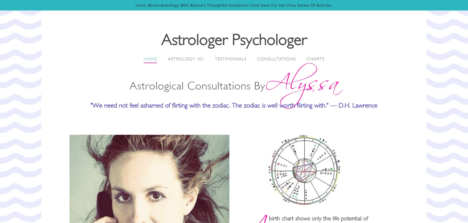 Combining fonts on one line for a neat effect on  astrologerpsychologer.com