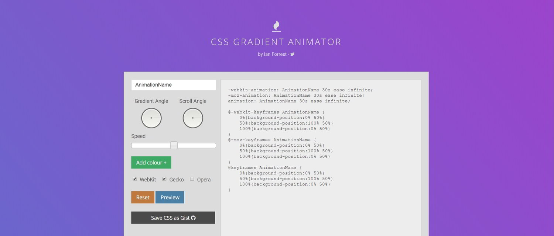 Ian Forrest's CSS Gradient Animator tool.