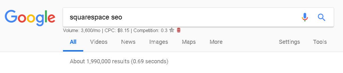 Google with the Keywords Everywhere extension.