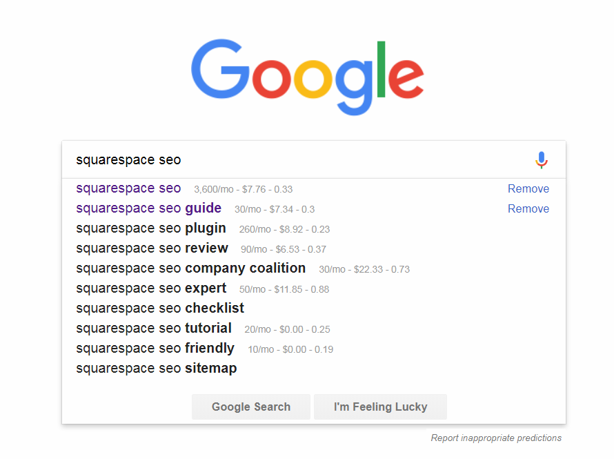 Keywords from Google Autocomplete with volume figures.