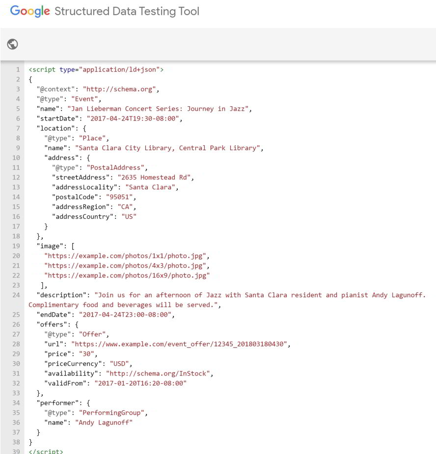 Event Schema markup example in Google's Structured Data Testing Tool.