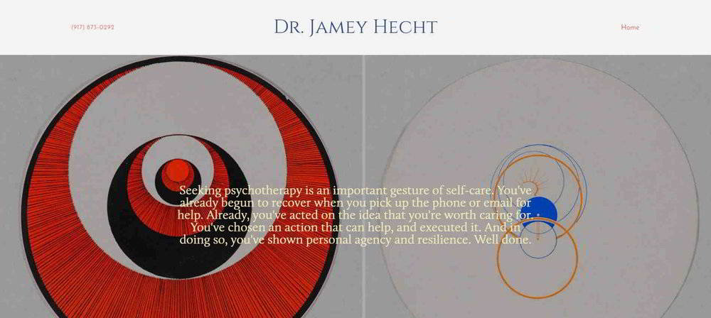 Marksmen Studio's  therapist website for Dr. Jamey Hecht  of Beverly Hills, CA