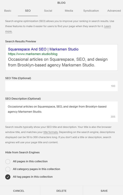 The new Squarespace SEO tab with the option to hide tag and category pages from search engines.