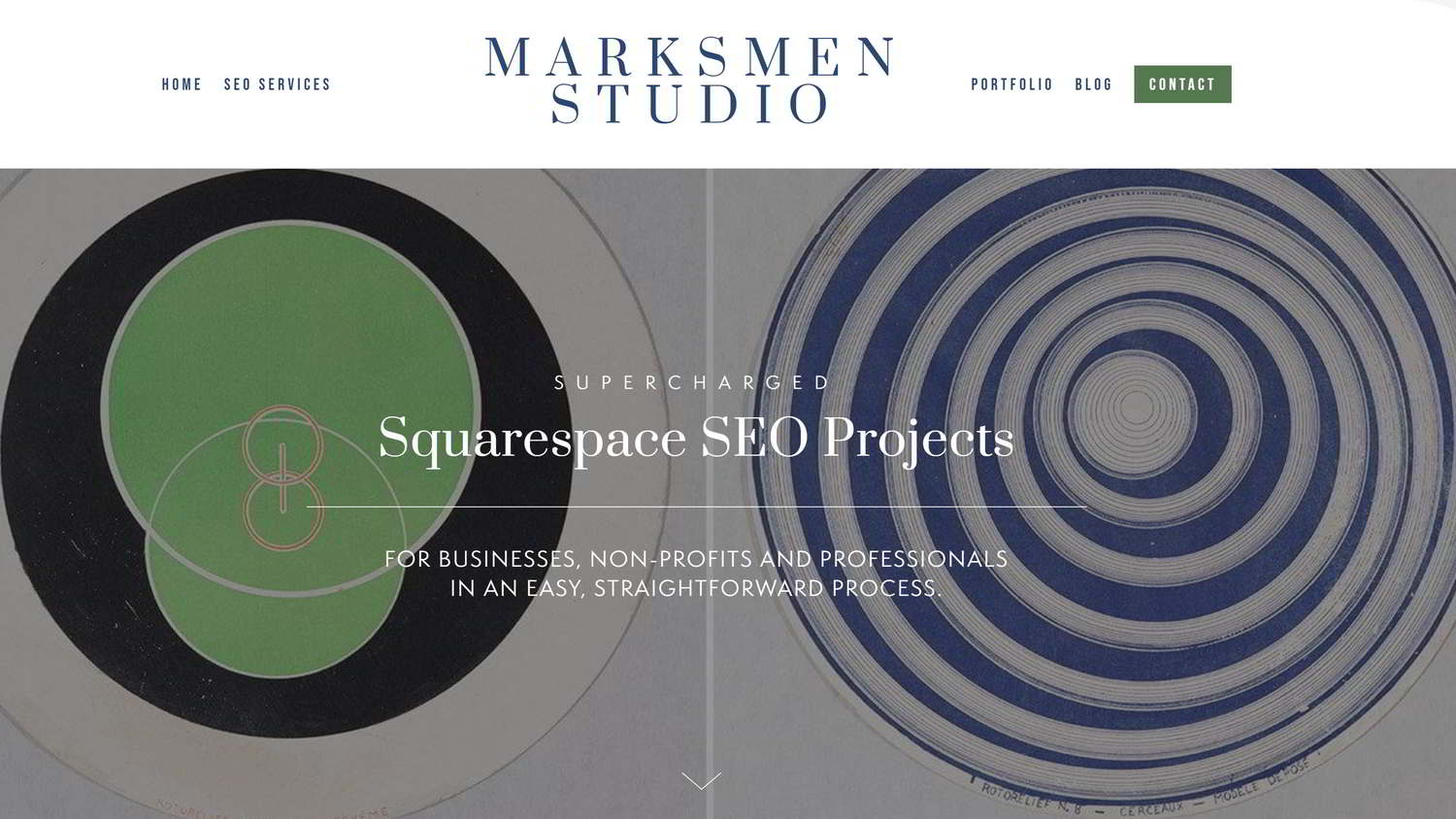 That scroll indicator at the bottom bounces  on the Marksmen Studio website home page .
