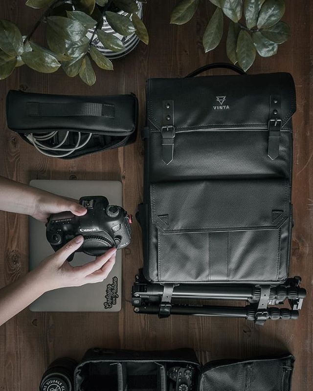 TYPE-II: Black Matte with attachment straps.  Laptop, power cords, 2 camera bodies, 3 lenses, tripod  #TheModernTraveler