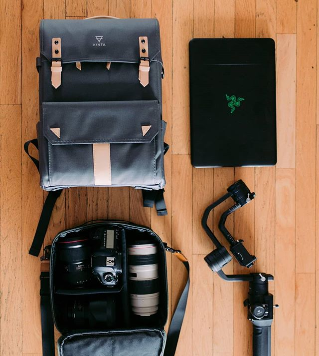 TYPE-II: Charcoal + Natural Travel pack with camera field pack. #TheModernTraveler