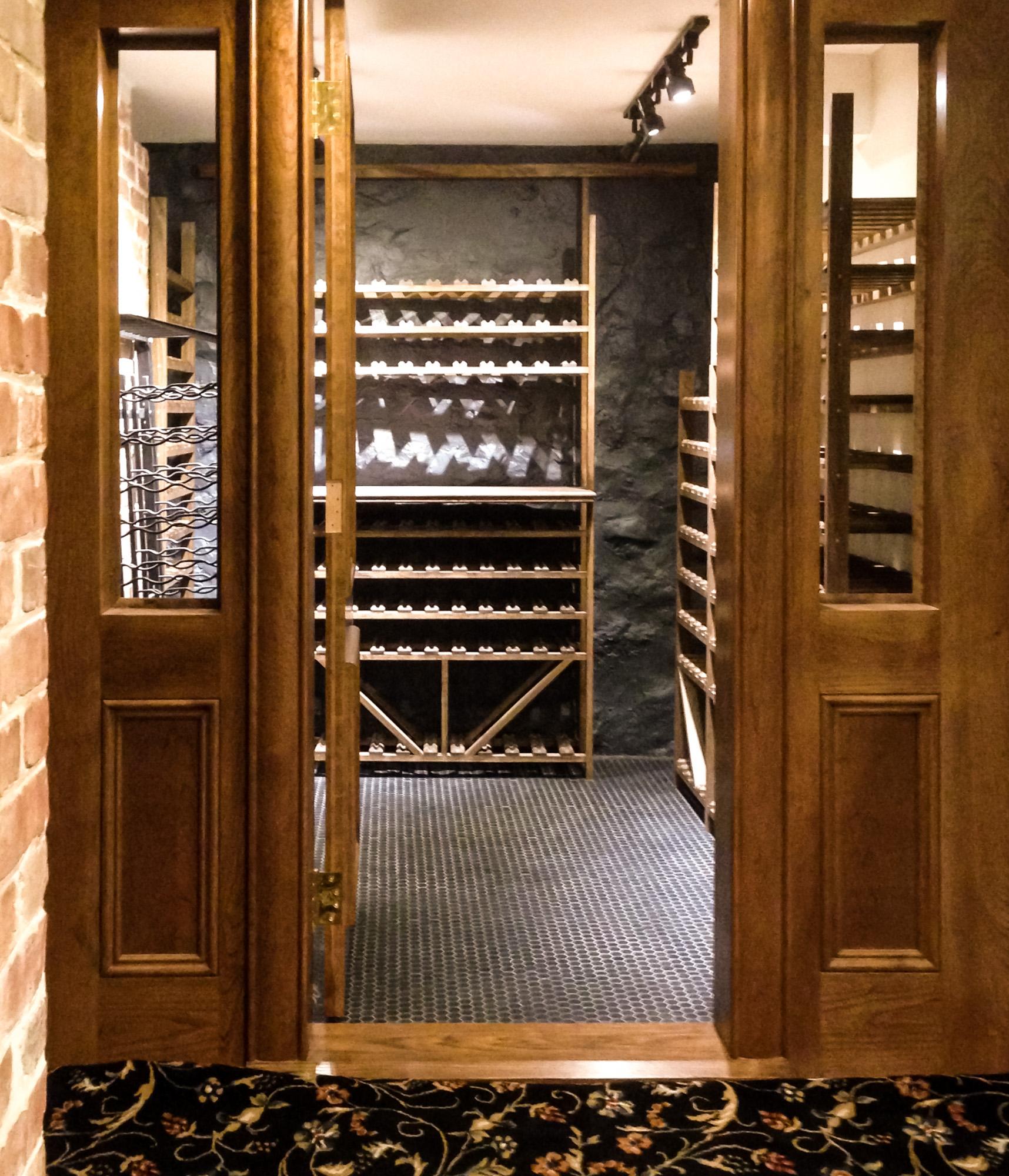 Windowed Wine Cellar - Custom Racks
