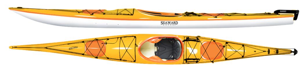 "Seaward Tyee   Length:  17'/5.19m.  Beam:  24""/60.96cm.  Bow Volume:  92L.  Stern Volume:  131L.  Total Kayak Storage:  415L.  Weight : 56lbs/25.4kg"