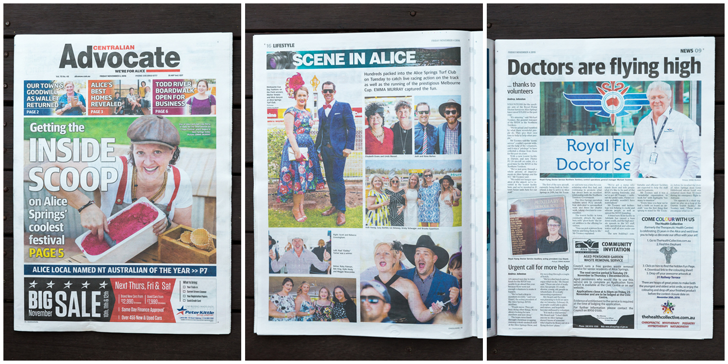 Some pages of the Centralian Advocate featuring my photos