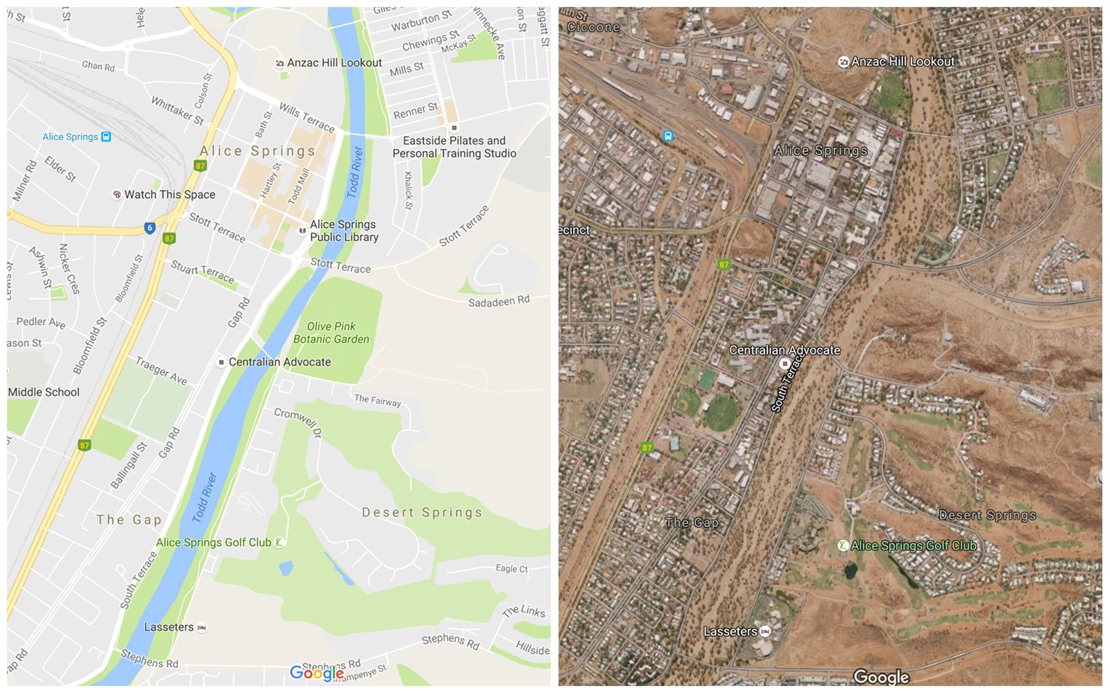 Google Maps vs Google satellite view of the Todd River