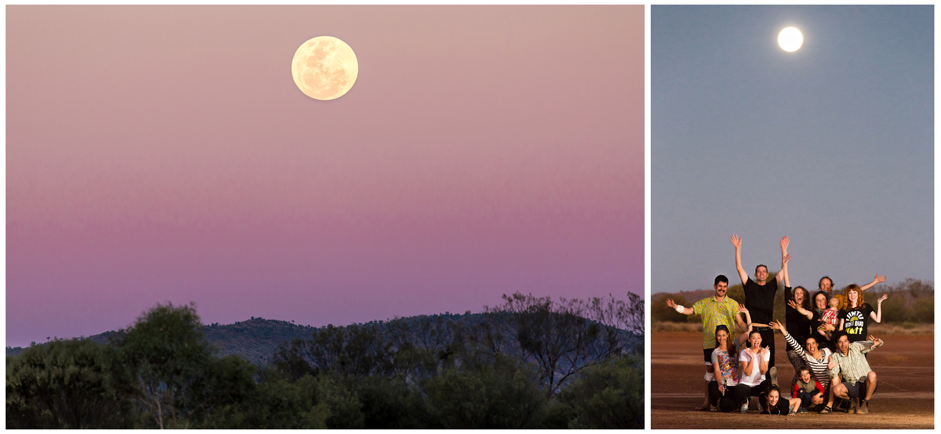 The biggest moon in fifty years rising over the red centre