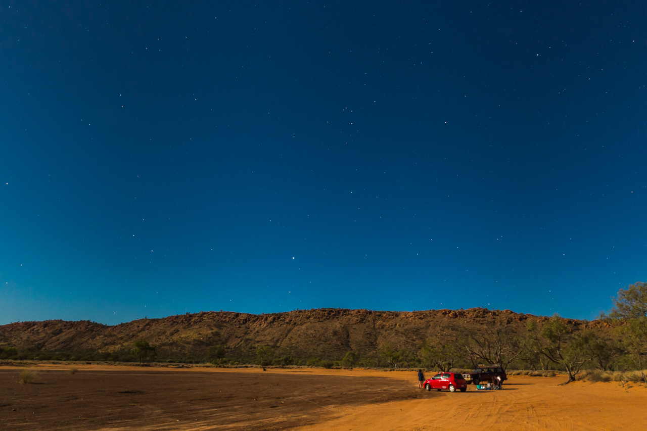The outback landscape lit up by the supermoon