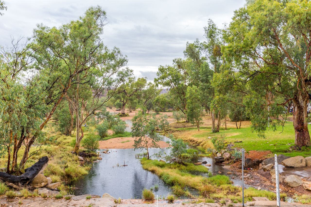 Water in the Todd River on Thursday