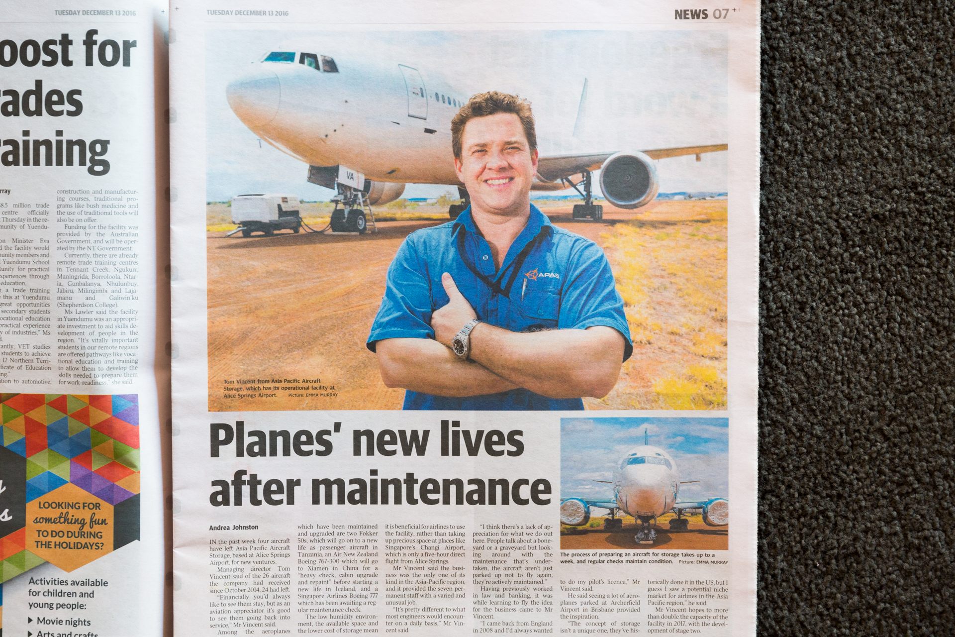 My photo of Tom Vincent, Asia Pacific Aircraft Storage Managing Director, in front of a plane in storage at his facility