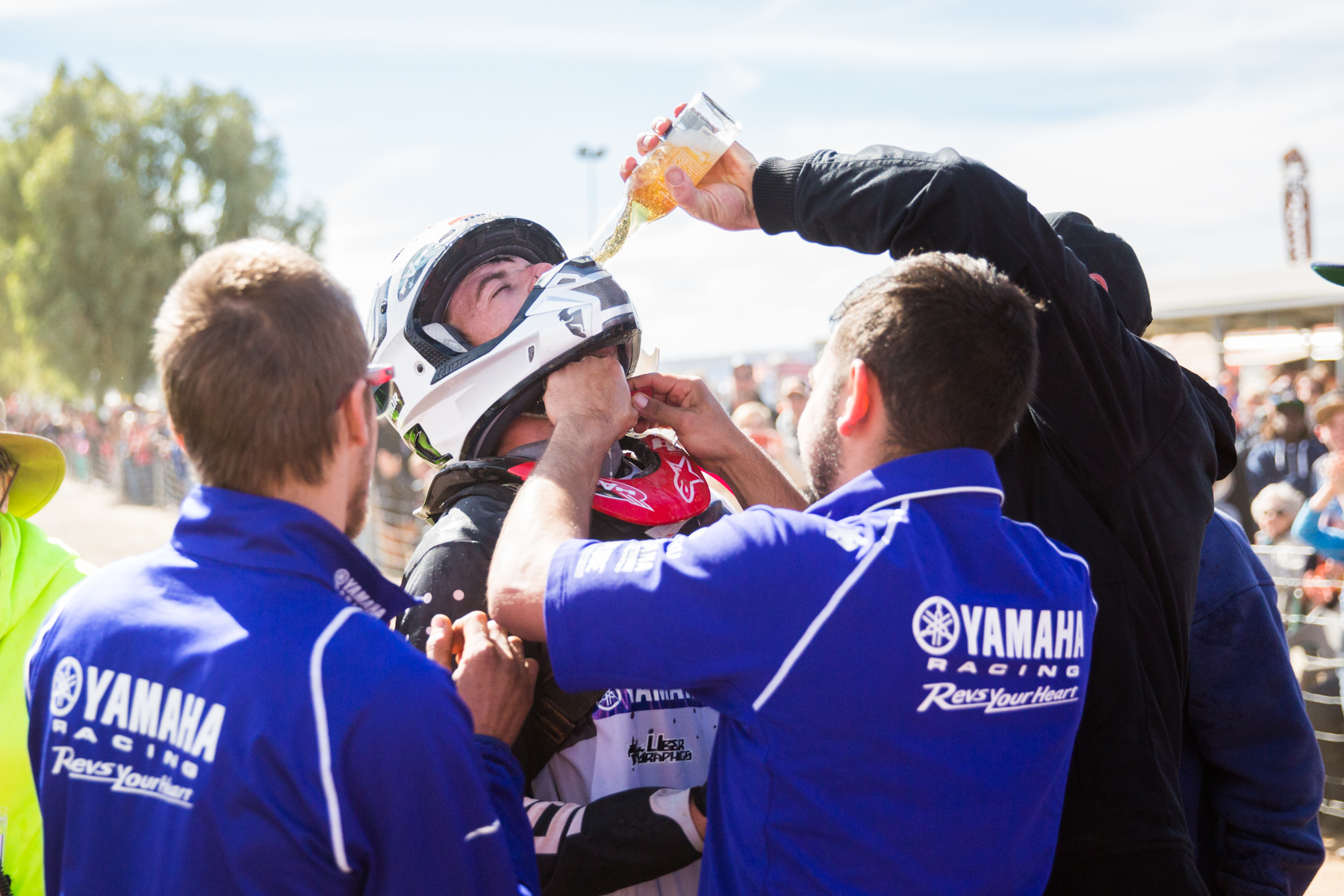 Daymon undergoing scientific rehydration methods from his team after finishing first