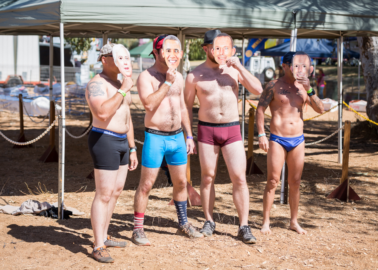 Clive Peters, Barrack Obama, and a couple of Tony Abbotts line up before the budgie smuggler race