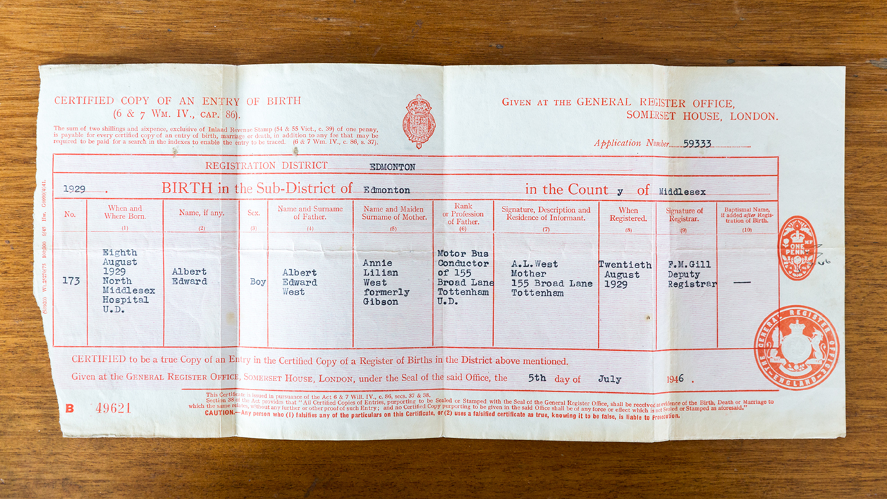 Ted's birth certificate from North Middlesex Hospital, 1929