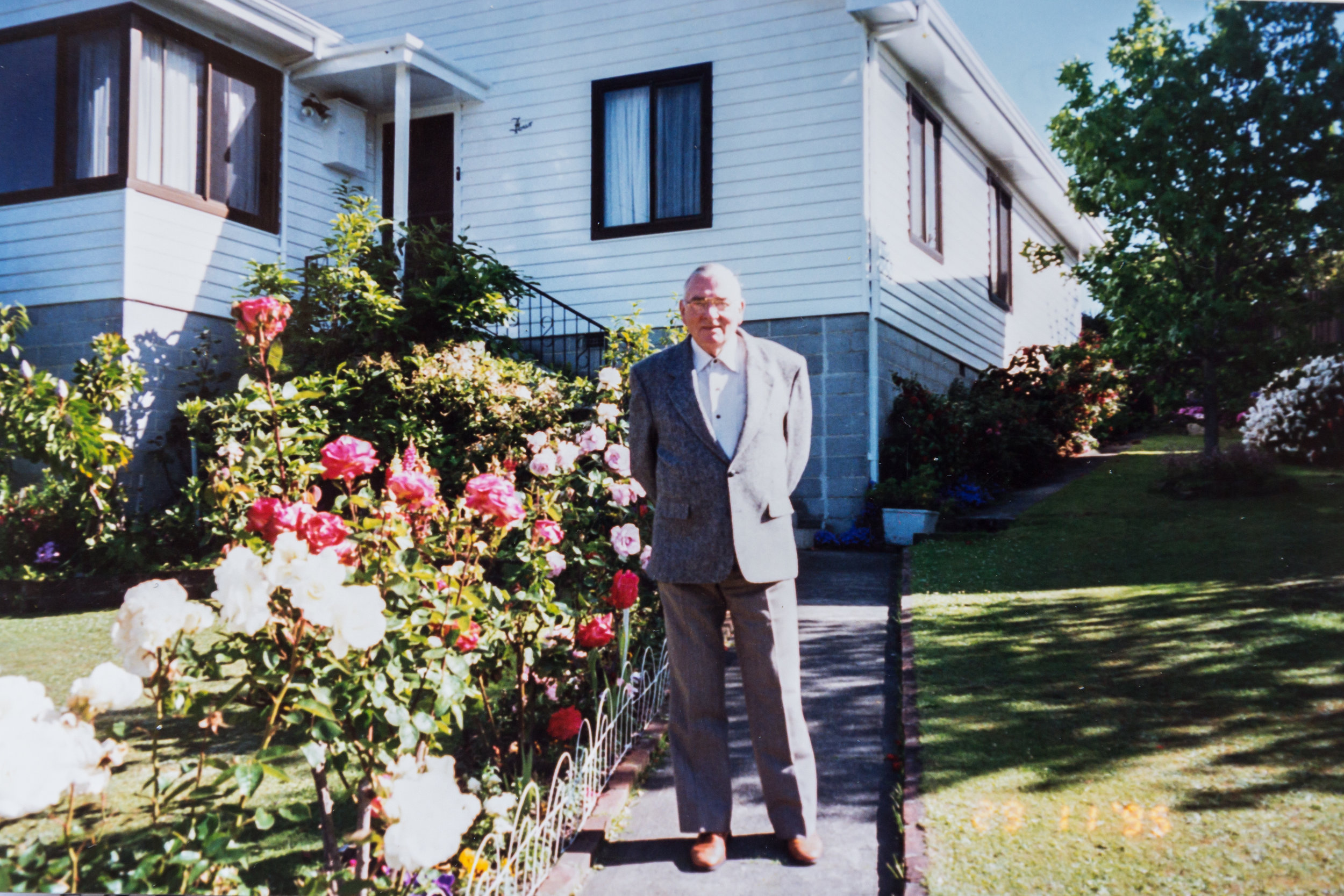 Ted standing proudly in the garden he created at his home at 4 Tootonga Street