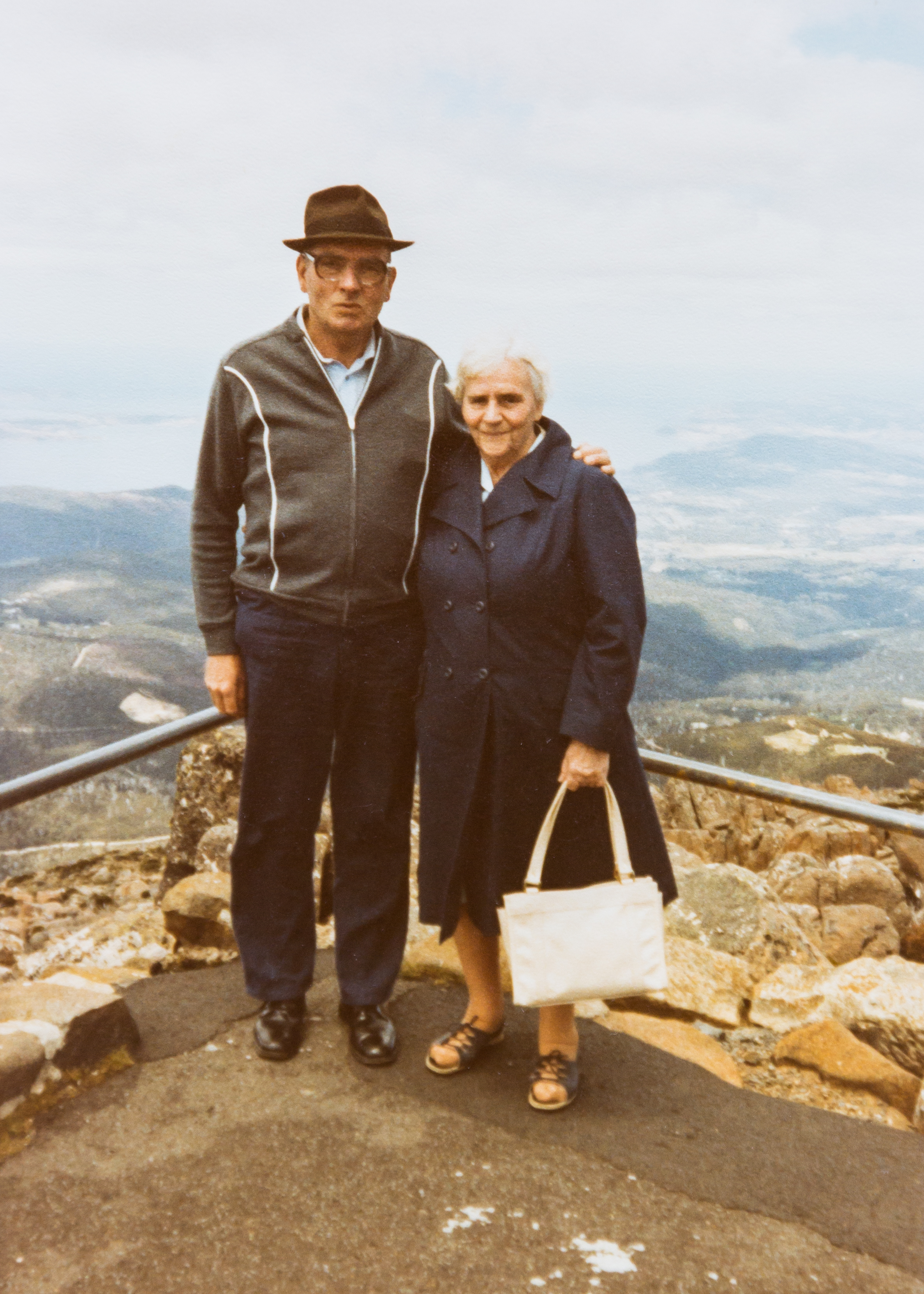 Ted and his mother at the summit of Mount Wellington in Hobart, 1982