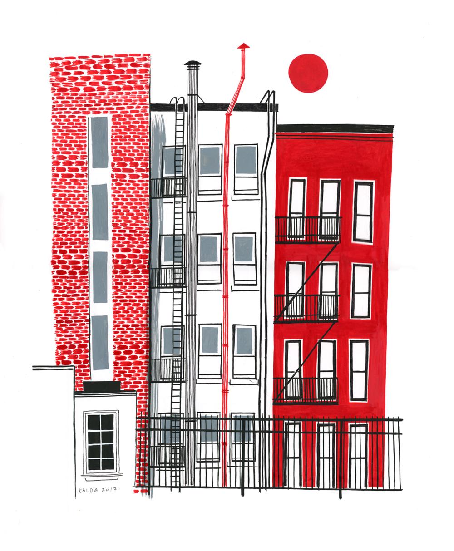 Boerum Hill Backyard - Ink on 14 x 17
