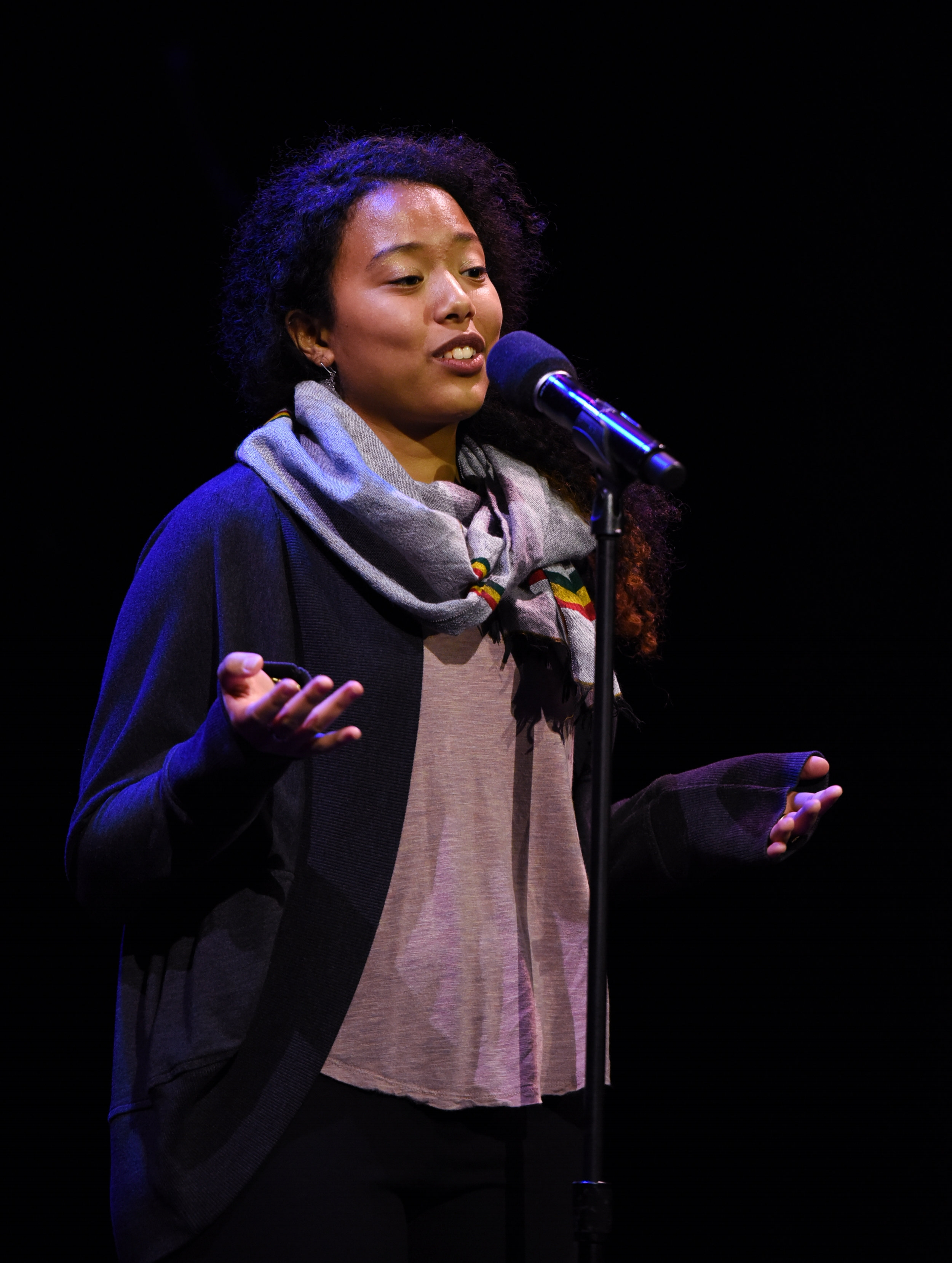 Selam Gano shares her story at the Oberon Theater in Cambridge, MA. Photo by Kate Flock
