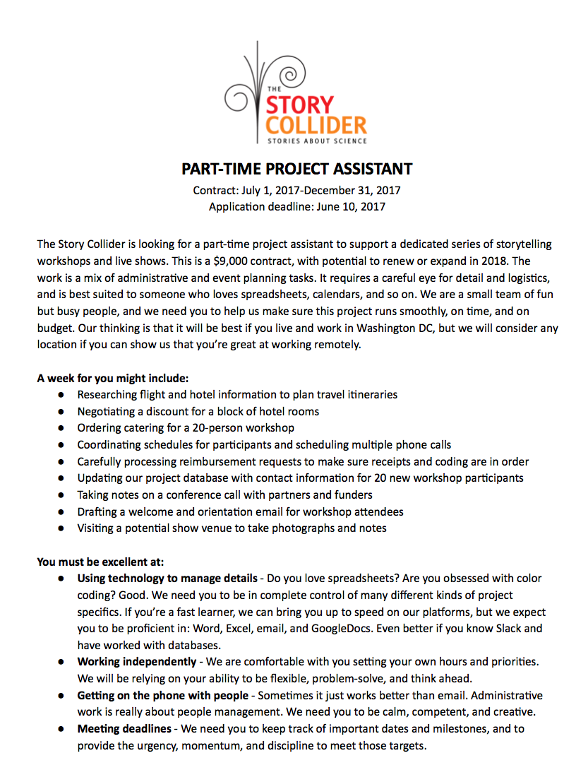 Click on the image above to download the PDF of the job announcement & instructions for applicants. If you have any problems, email Jobs@StoryCollider.org and we'll troubleshoot.