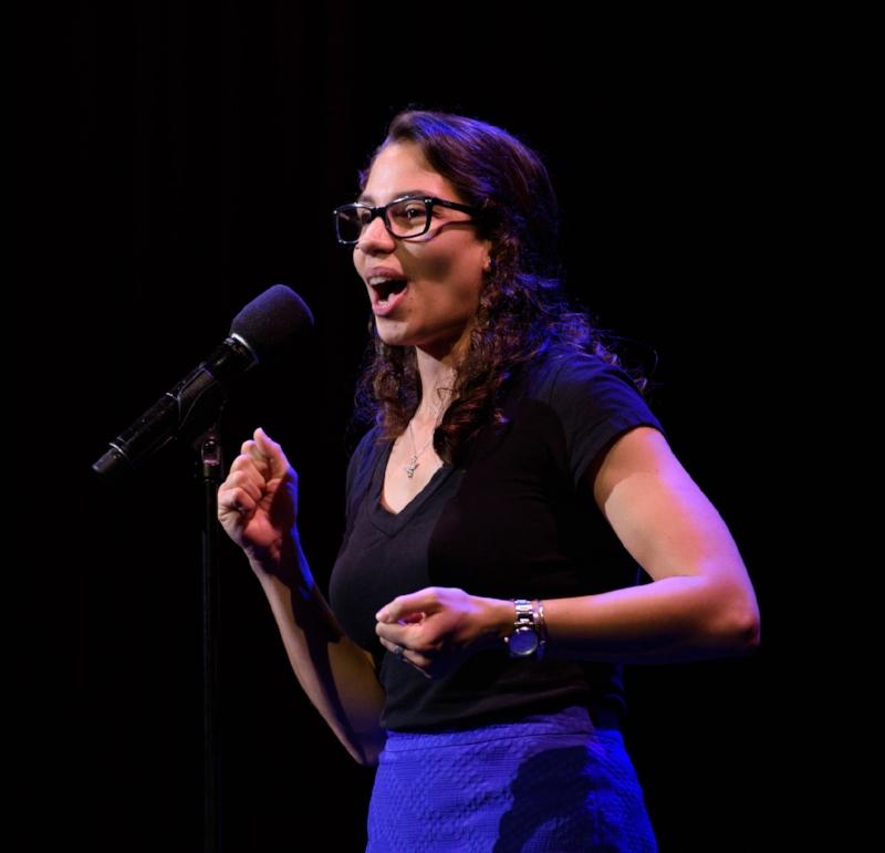 Rachael Bonoan tells her story at the Oberon in Cambridge, Massachusetts.