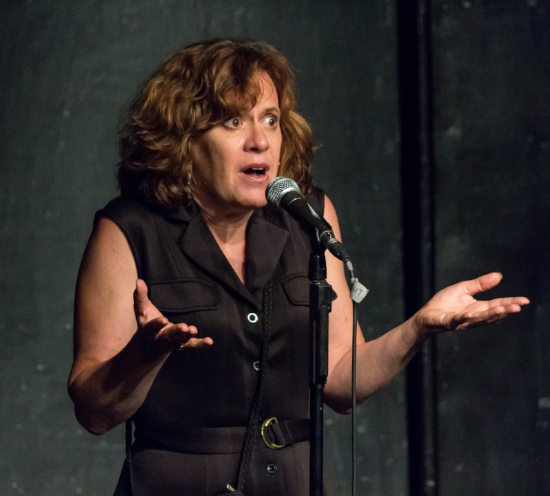 Gail Thomas shares her story at the Kraine Theater in New York in July 2017.