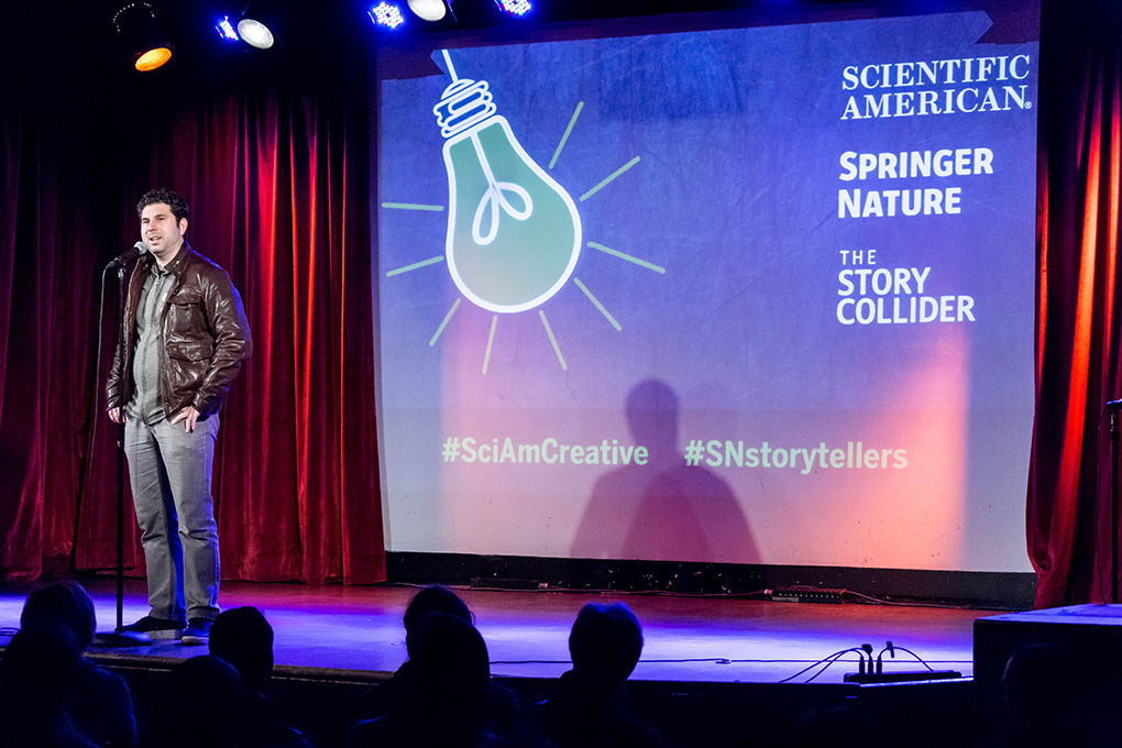 Scott Barry Kaufman shares his story at our show in partnership with Scientific American and Springer Nature at the Bell House in Brooklyn, NY. Photo by Nicholas Santasier.