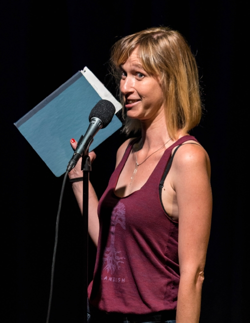 Kate Marvel shares her story at Caveat in New York City in September 2017. Photo by Nicholas Santasier.