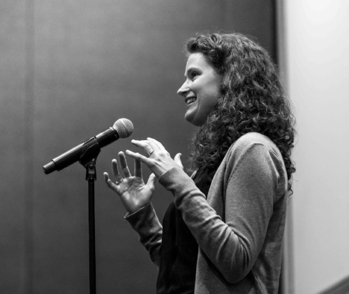 Kirsten Grorud-Colvert shares her story at the Ecological Society of America meeting in August. Photo by Stuart Pollock.