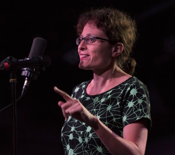 Leah Shaffer shares her story at the Ready Room in St. Louis. Photo by David Kovaluk.