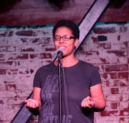 Piper Harron shares her story at The Tipsy Crow in San Diego. Photo by Ernesto Ortiz.