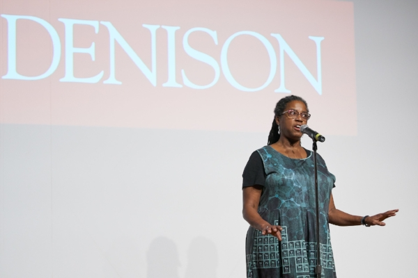 Alison Williams shares her story in the Slayter Auditorium at Denison University. Photo by Timothy E. Black.