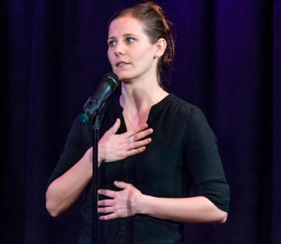 Anna Freeman shares her story at Caveat in New York in January 2018. Photo by Nicholas Santasier.