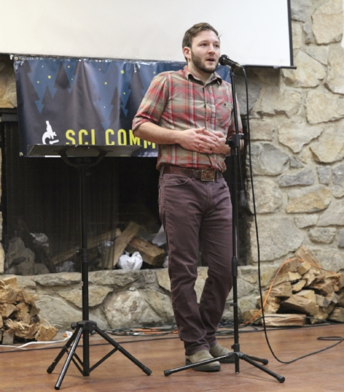Josh SIlberg shares his story at Scicomm Camp in November 2016.