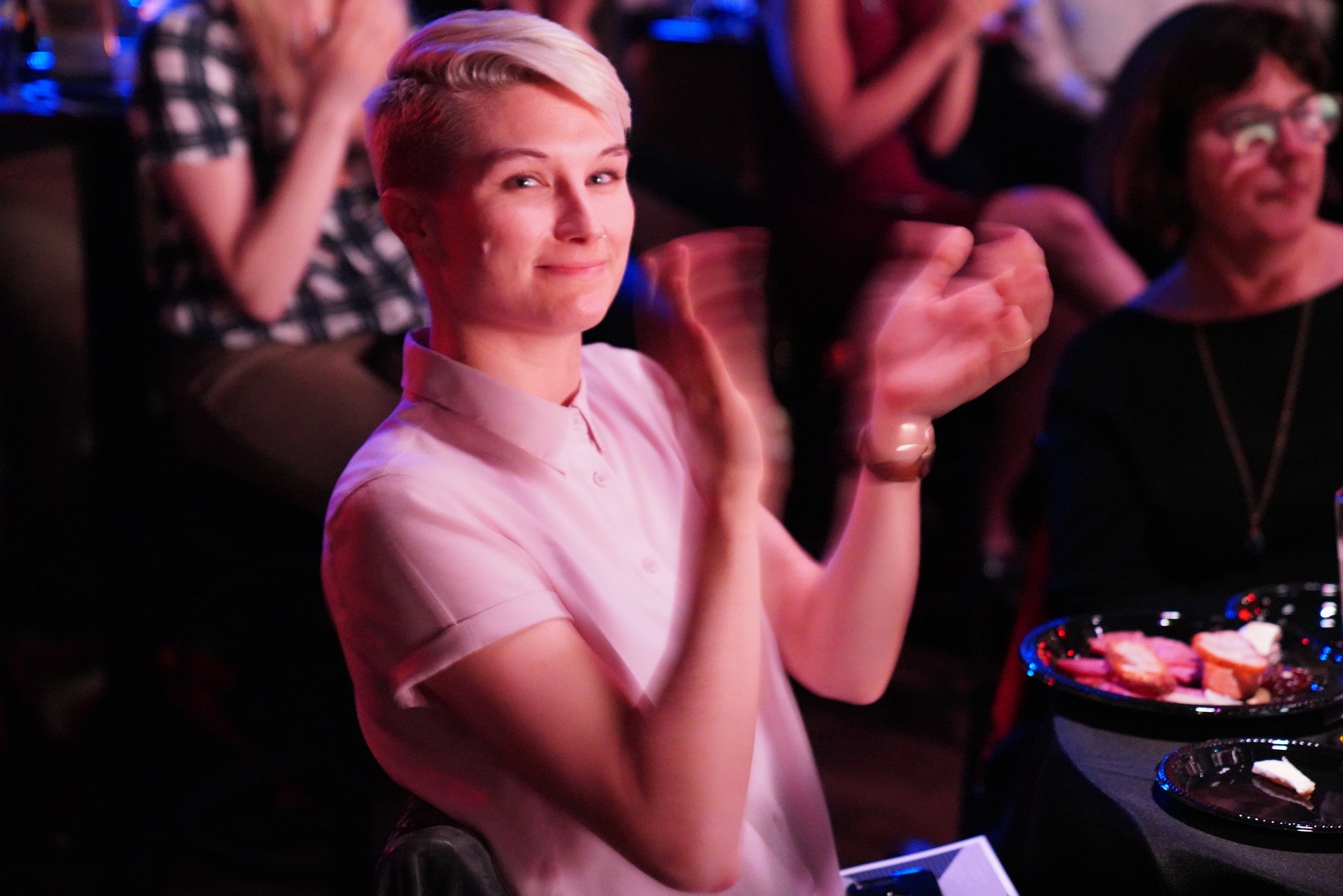 Arielle's wife, Meredith, applauds her spouse!