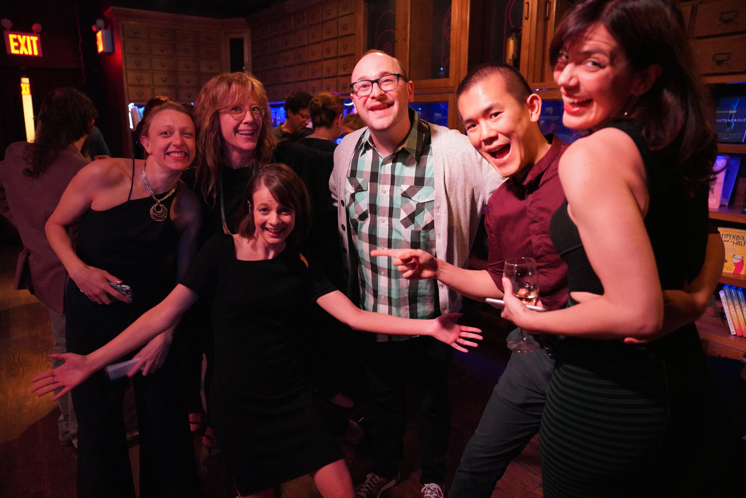 Celebrating a hilarious performance by Josh Gondelman (center): Story Collider NYC producers Paula Croxson (also a neuroscientist at Mt. Sinai) and Tracy Rowland (also an Emmy-winning TV producer), SC artistic director Erin Barker, journalist Ed Yong, and SC executive director Liz Neeley.