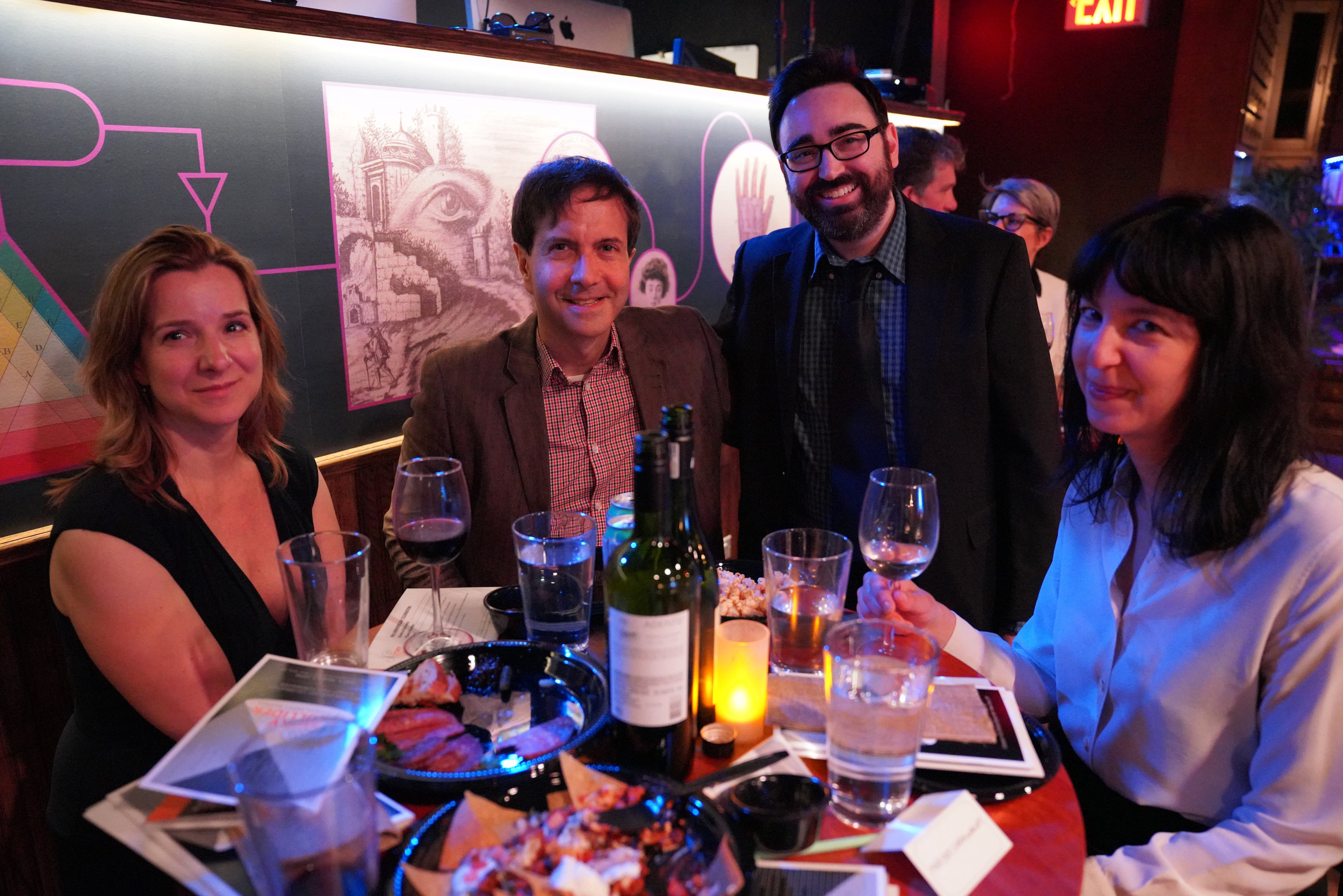 Emma Parry and Melissa Flashman of Janklow and Nesbit (outside) with storyteller  Steve Zimmer , winner of more than 20 Moth StorySlams, and Justin D'Ambrosio, elegant man about town and one of the First Gentlemen of Story Collider.