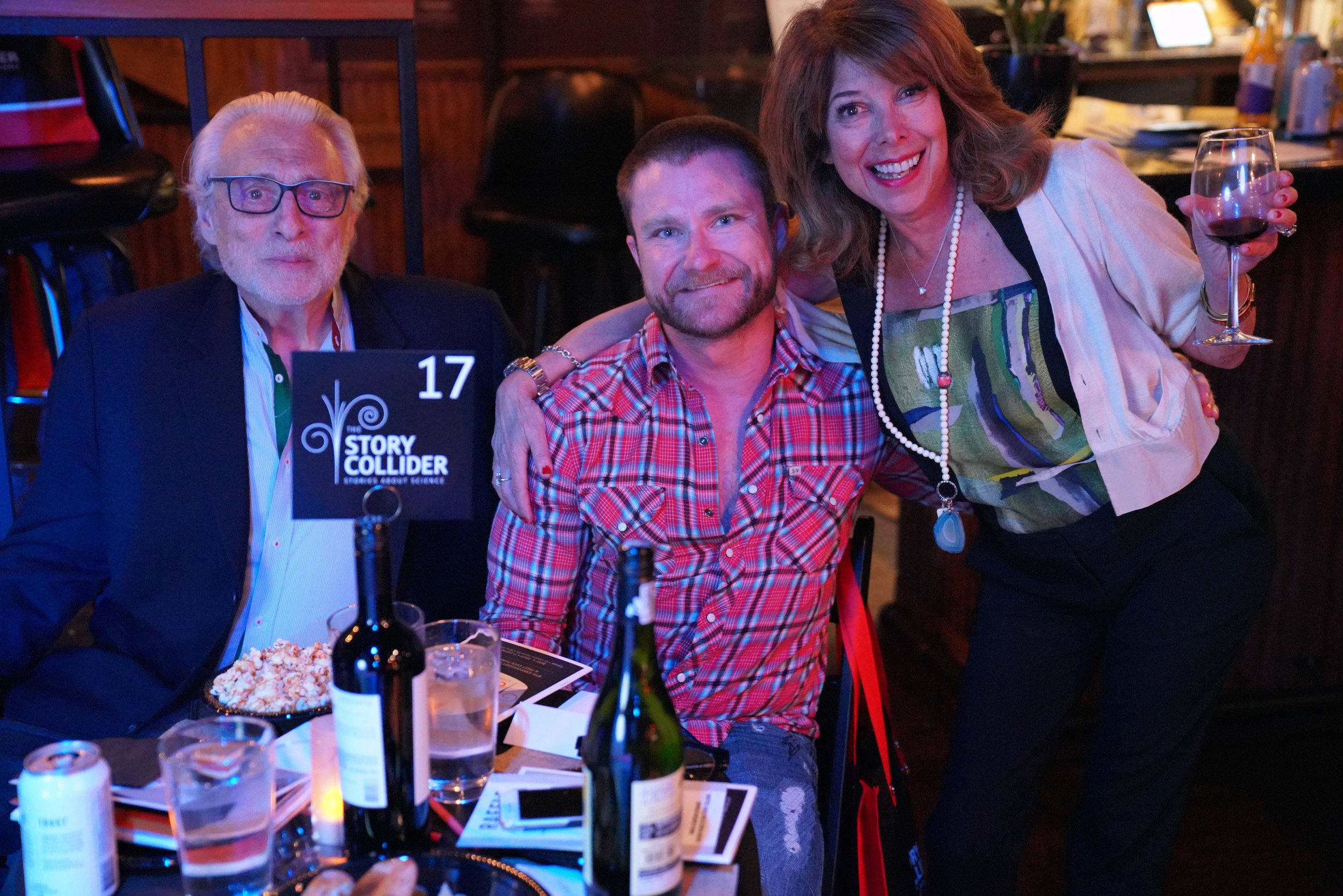 Story Collider supporters  Sandi Marx  (right), New York-based storyteller, and Danny Miller (center), MIT astrophysicist. (Check out Danny's story on our podcast  here .)