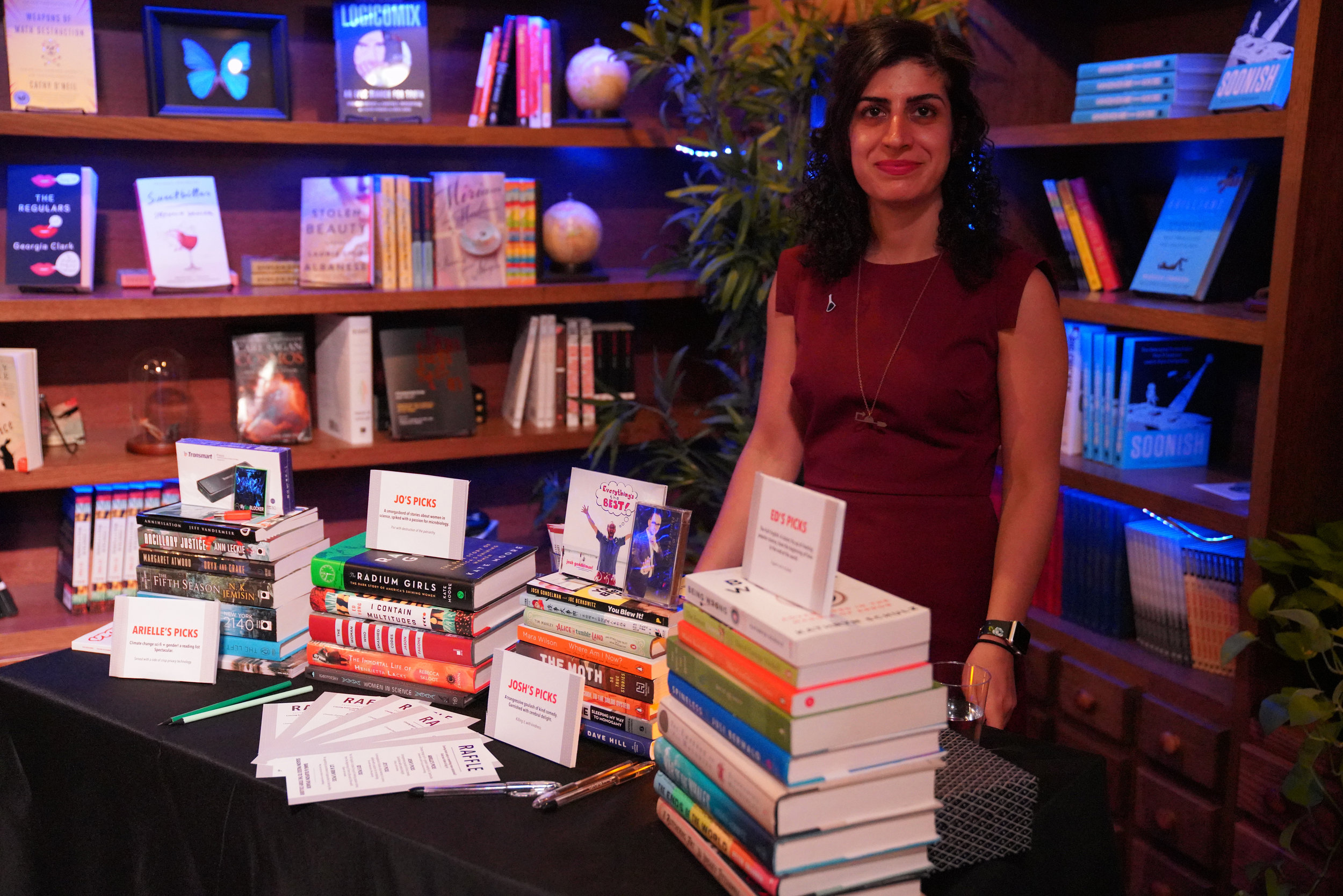 Story Collider DC producer and biologist Maryam Zaringhalam keeps an eye on the valuables.