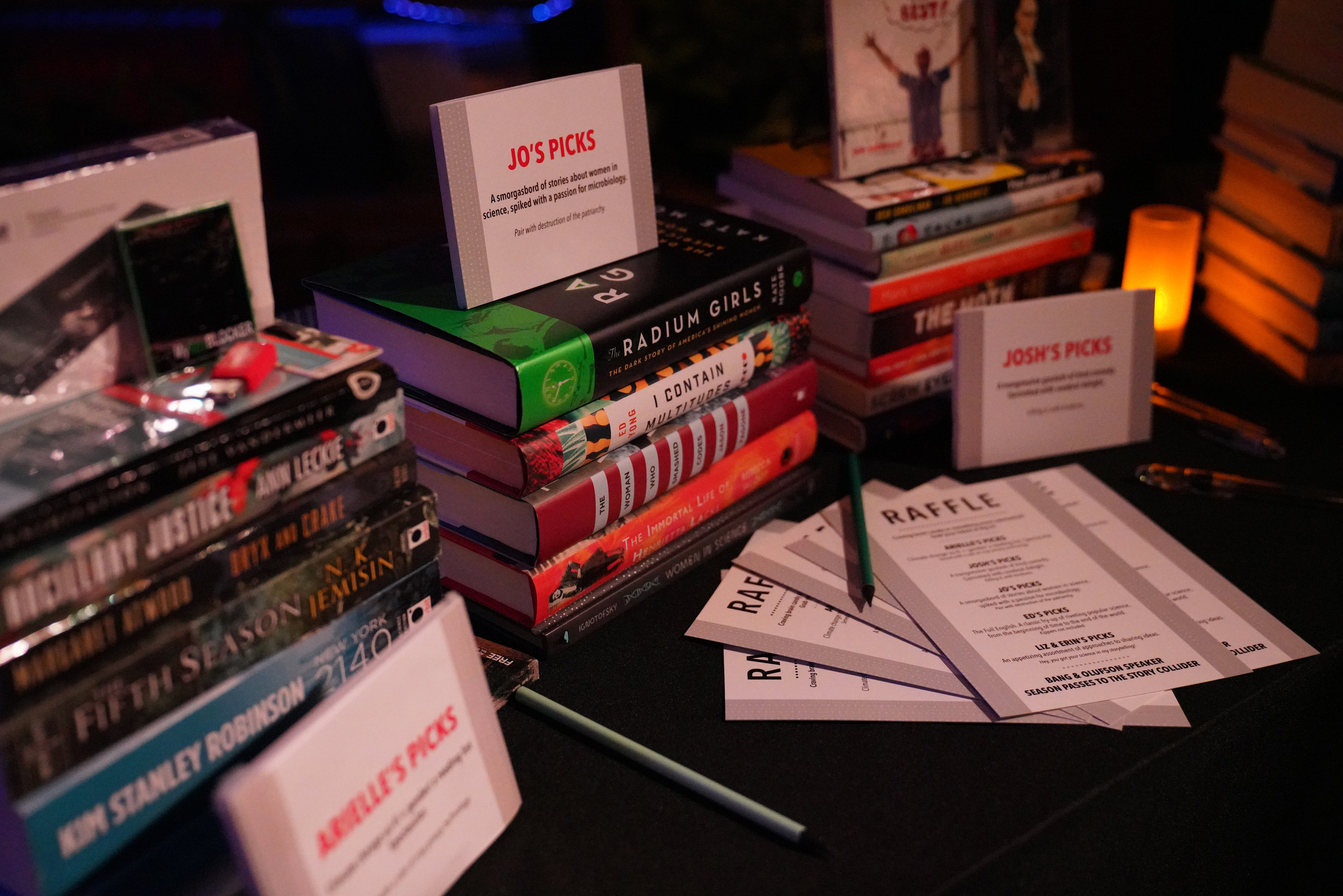 Each of our storytellers assembled a package of books for our raffle, with themes ranging from comedy to microbiology.