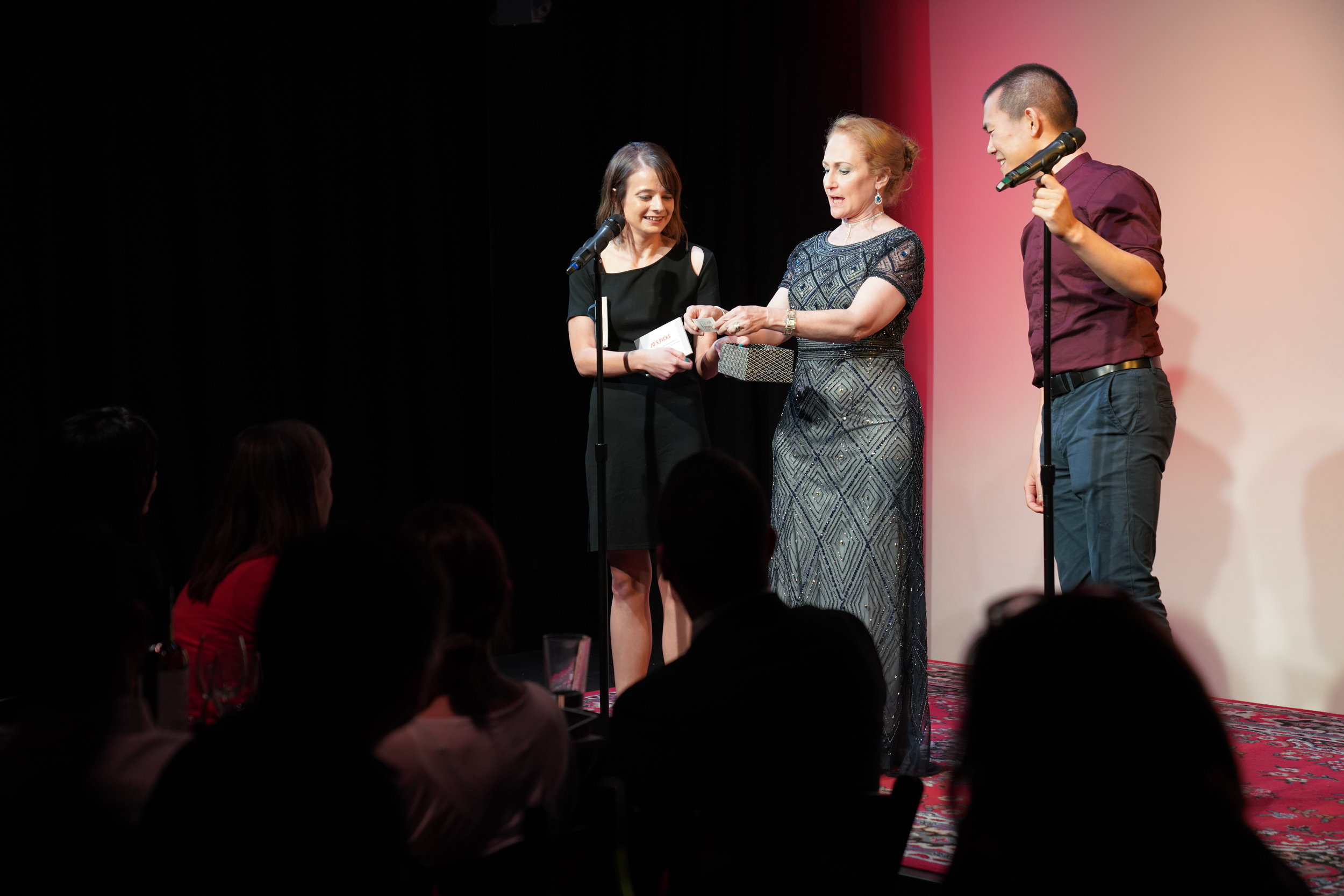Storyteller Jo Handelsman assists with our raffle drawing!