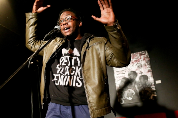 Morgan Givens shares his story at Busboys and Poets in Washington, DC, in October 2017. Photo by Michael Bonfigli.