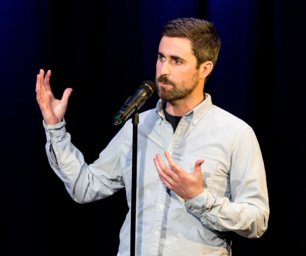Peter Brannen tells his story in February 2018 at Caveat in New York. Photo by Nicholas Santasier.