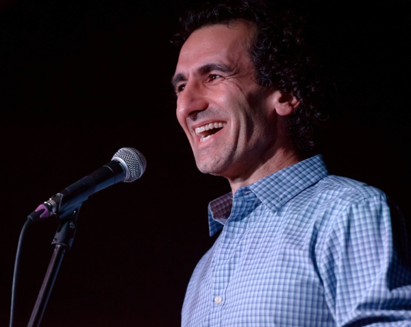 Simon Donner shares his story at the Anza Club in Vancouver. Photo by Rob Shaer.