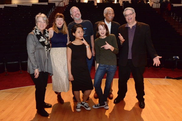 The cast of our amazing show at Fermilab in May 2018! From left to right: Lindsay Olson, artist; Kellie Vinal, Story Collider producer, Cindy Joe, engineering physicist; Michael Albrow, physicist; Erin Barker, Story Collider artistic director; Herman B. White, physicist; and Don Lincoln, physicist.