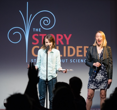 Story Collider's artistic director, Erin Barker, and New York producer Paula Croxson introduce the show at Caveat last June. Photo by Zhen Qin.