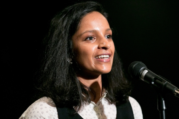 Sushma Subramanian shares her story at Busboys and Poets in Washington, DC. Photo by Michael Bonfigli.